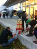 Pressing apples to make cider